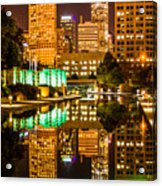 Indianapolis Skyline At Night Canal Reflection Picture Acrylic Print by Paul Velgos