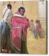 Indians Outside Taos Pueble Acrylic Print