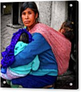 Indigenous Woman And Children Of Mexico Acrylic Print