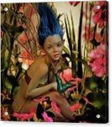 Indigo Featherdust Acrylic Print