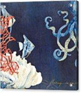 Indigo Ocean - Floating Octopus Acrylic Print