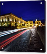Indigo Sky And Car Lights Over Plaza Espana And Puente Nuevo Bri Acrylic Print