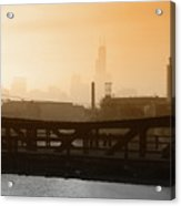 Industrial Foggy Chicago Skyline Acrylic Print