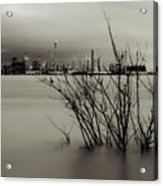 Industry On The Mississippi River, In Monochrome Acrylic Print