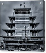 Indy 500 Pagoda - Black And White Acrylic Print