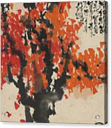 Ink Painting A Tree Gules Persimmon Girl Acrylic Print
