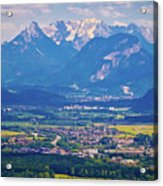 Inn River Valley And Kaiser Mountains View Acrylic Print