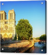 Notre Dame In Sunset Light Acrylic Print