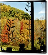 Inside Looking Outside At Fall Splendor Acrylic Print