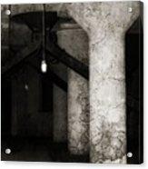 Inside Empty Dark Building With Light Bulbs Lit Acrylic Print