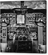 Inside The Cockpit Black And White Acrylic Print