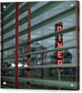 Inside The Diner Acrylic Print by Kathy Jennings
