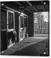 Inside The Horse Barn Black And White Acrylic Print