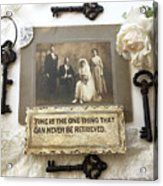 Inspirational Art - Vintage Wedding Photo With Antique Keys - Inspirational Vintage Black Keys Art  Acrylic Print