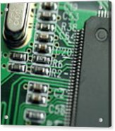 Integrated Circuit On A Computer Usb Board Acrylic Print by Sami Sarkis