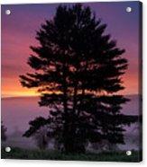 Intense Dawn Sky Over A Foggy South Amherst Acrylic Print