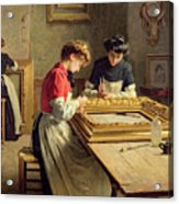 Interior Of A Frame Gilding Workshop Acrylic Print by Louis Emile Adan