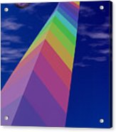 Into The Future - Rainbow Monolith And Planet Acrylic Print