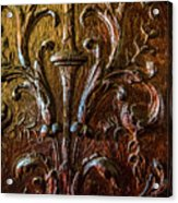 Intricate Wood Carving On Wall Panel At Swannonoa 4407vt Acrylic Print