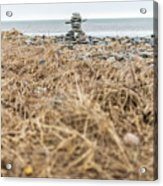 Inukshuk At Lawrencetown Beach, Nova Scotia Acrylic Print