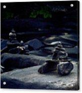 Inuksuk Stone Figures And River Acrylic Print