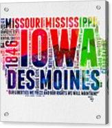 Iowa Watercolor Word Cloud  Acrylic Print
