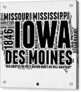 Iowa Word Cloud 2 Acrylic Print