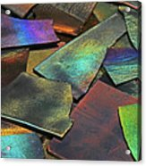 Iridescence Angles, Curves Greens Blues Browns Rusts Yellows Geometric 2 8312017  Acrylic Print