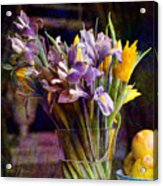 Irises In A Glass Acrylic Print