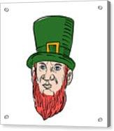 Irish Leprechaun Wearing Top Hat Drawing Acrylic Print