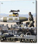 Irman Assists In Lowering A Guided Bomb Acrylic Print