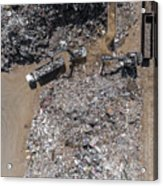 Iron Raw Materials Recycling Pile, Work Machines.  Acrylic Print