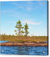Island In The Form Of A Smooth Rock With Several Pines Acrylic Print