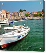 Island Of Prvic Turquoise Harbor And Waterfront View In Sepurine Acrylic Print