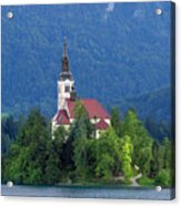 Island With Church On Bled Lake, Slovenia Acrylic Print