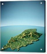 Isle Of Man 3d View South-north Natural Color Acrylic Print