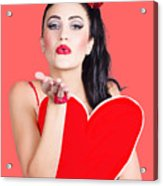 Isolated Pin Up Woman Holding A Heart Shaped Sign Acrylic Print