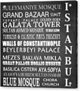 Istanbul Famous Landmarks Acrylic Print