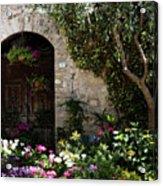 Italian Front Door Adorned With Flowers Acrylic Print