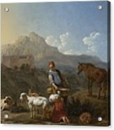 Italian Landscape With Girl Milking A Goat Acrylic Print