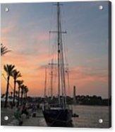 Italian Sunset And Sailboat Acrylic Print