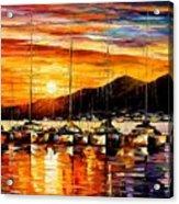 Italy - Naples Harbor- Vesuvius Acrylic Print