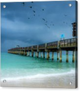 It's Getting Stormy At The Pier Acrylic Print
