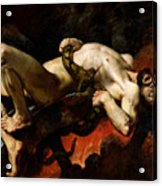 Ixion Thrown Into Hades Acrylic Print by Jules Elie Delaunay