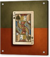 Jack Of Spades In Wood Acrylic Print
