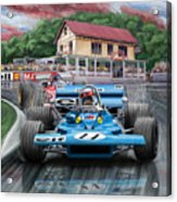 Jackie Stewart At Spa In The Rain Acrylic Print