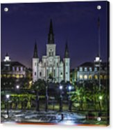 Jackson Square And St. Louis Cathedral At Dawn, New Orleans, Louisiana Acrylic Print
