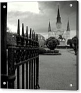 Jackson Square Gate With St. Louis Cathedral And Storm Clouds Acrylic Print