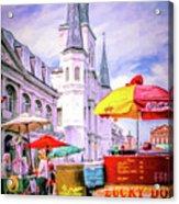 Jackson Square Scene - Painted - Nola Acrylic Print