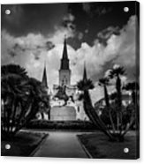 Jackson Square Sunrise In Black And White Acrylic Print